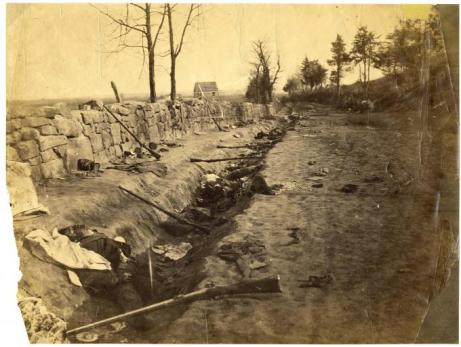 Confederate dead at Marye's Heights after the Second Battle of Fredericksburg