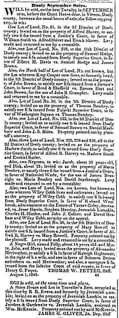 Macon Weekly Telegraph, August 15, 1843