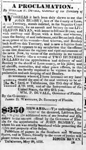 John Bembry Federal Union 8 Sep 1831 wanted notice cropped