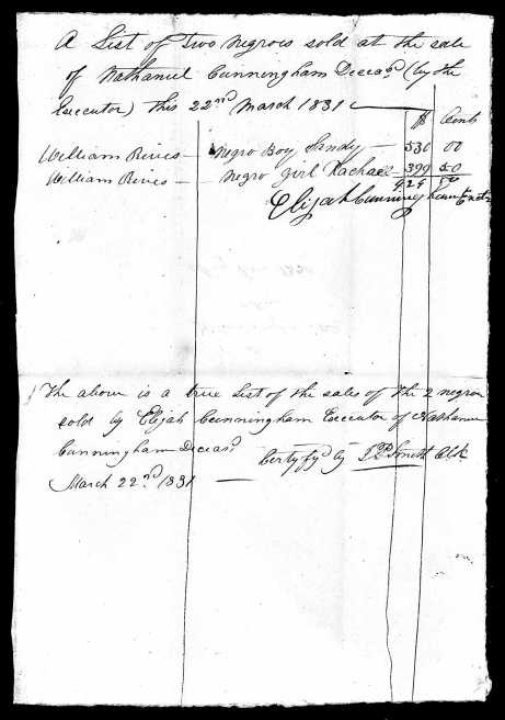 Sale of Nathaniel Cunningham slaves