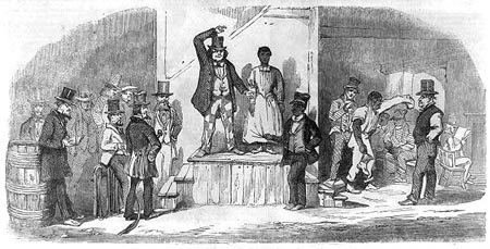 Slave auction at Wilmington NC, from Learn NC.