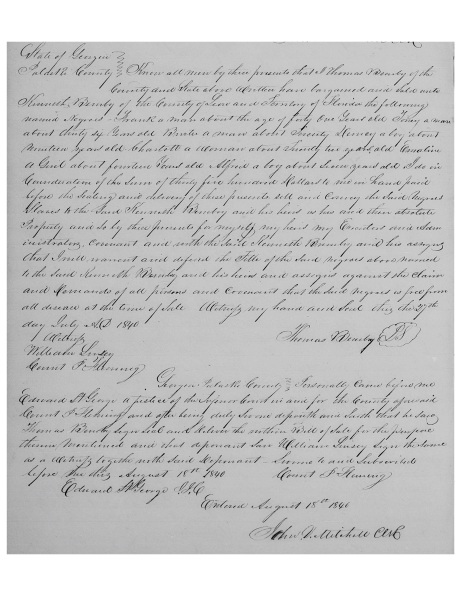 Bembry, Thomas 29 Dec 1840 to Kenneth Bembry (several slaves)