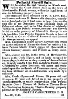 Thomas Bembry slave sale Federal Union 7 Feb 1843